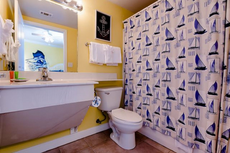 2nd bathroom with private access. Tub and shower combination.