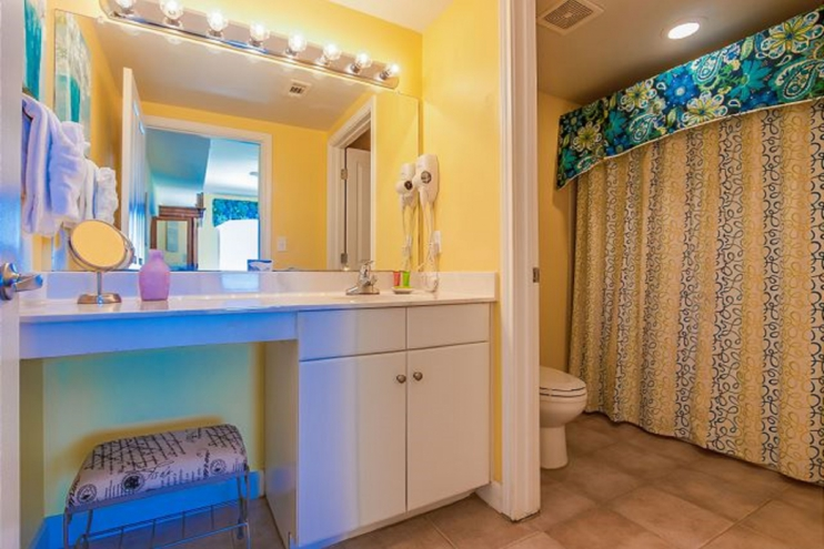 Professionally decorated master suite bathroom with tub, shower & hairdryer