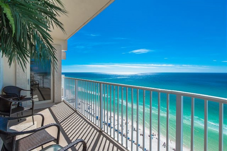 Private balcony access from the master suite looking out over endless beaches.