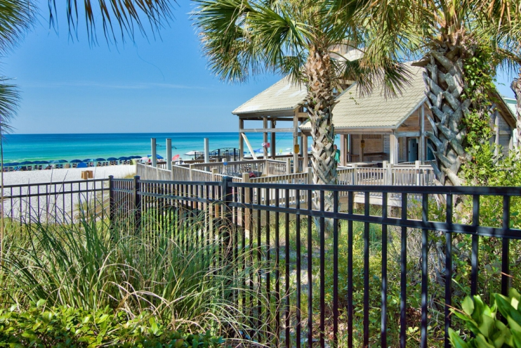Private, gated beachside pavilion with bathrooms, outdoor showers, and cabana cafe!