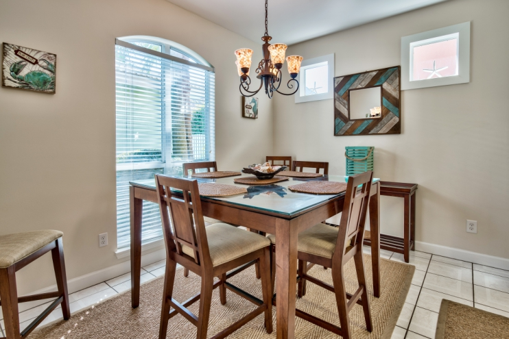 High top dining table with seating for 6 plus 3 leather high top stools at kitchen bar top!