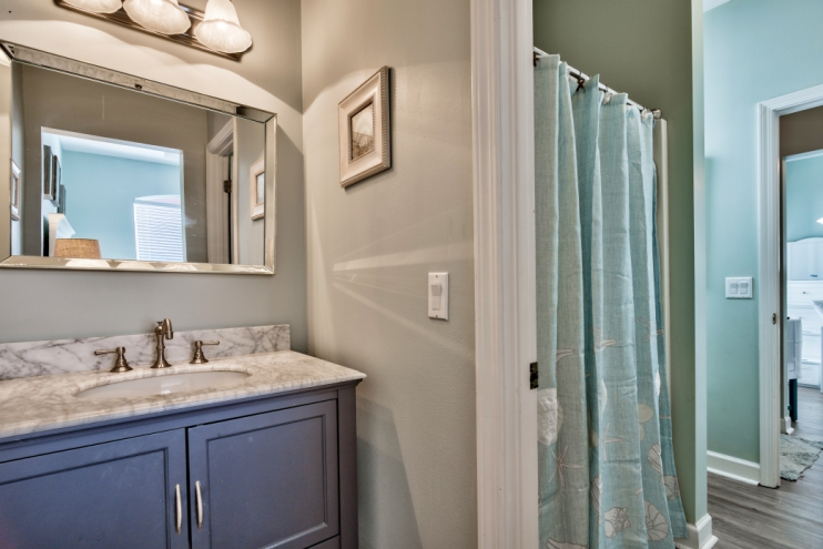 Private vanity leading into Jack & Jill bathroom and shower!