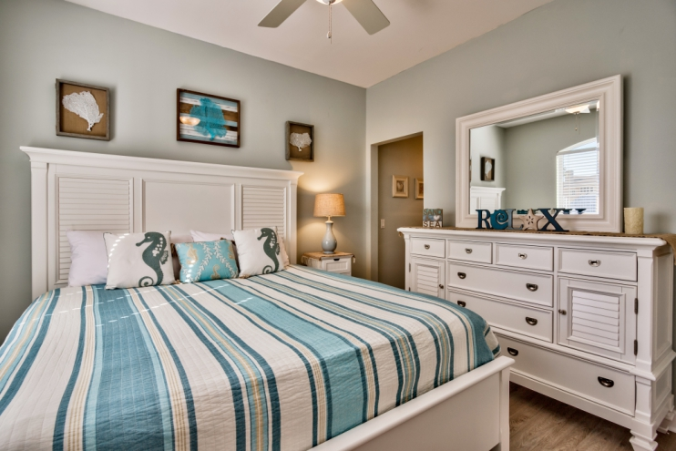 Brand new 2nd Master bedroom with king-size bed and attached Jack & Jill bathroom including separate vanity!