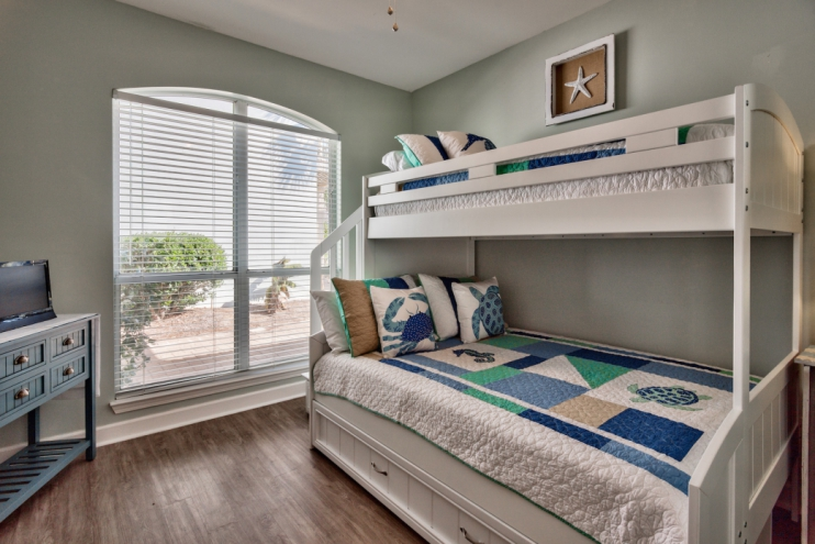 Brand new bunkbed room with Twin over Full beds and a pull-out Twin trundle bed.  The kids will love this room!