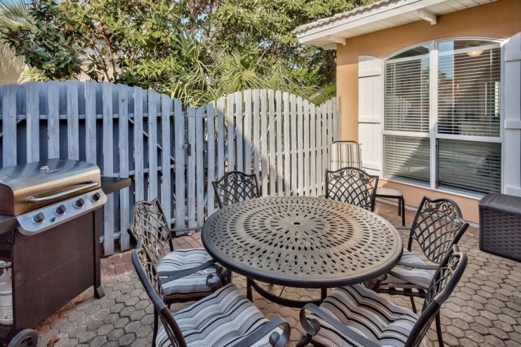 Private, enclosed backyard with new table and grill!