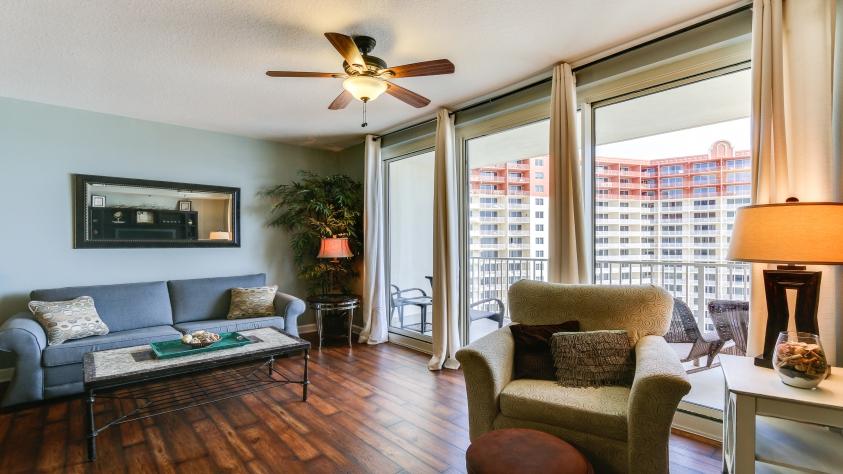 1709 Shores of Panama Living Area, Queen Sleeper Sofa