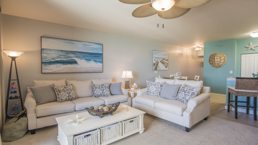 Living Room with Sofa and Loveseat and Deluxe Air Mattress