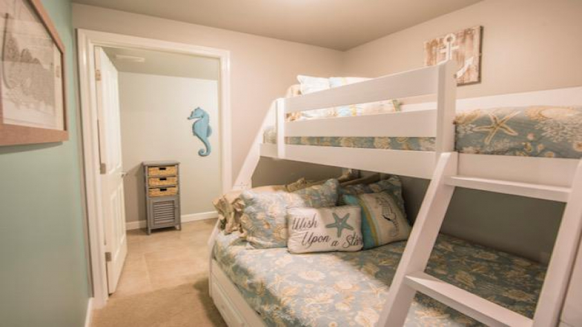 Bunkroom with Bath Attached, Full Mattress on Bottom and Twin Mattress on Top
