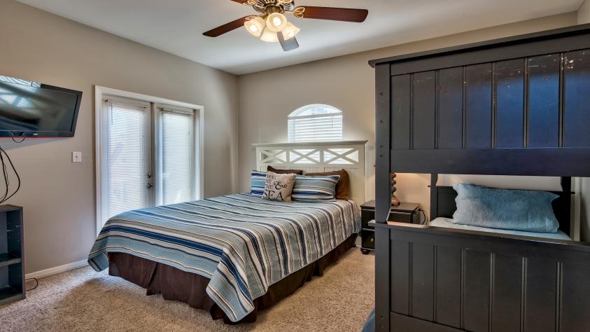 Second Floor Bedroom with Queen and Twin Bunk Beds
